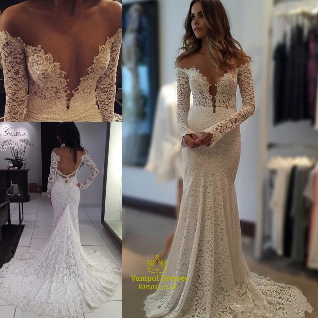 Deep V Neck Long Sleeve Mermaid Lace Wedding Dress With Sheer Back ...