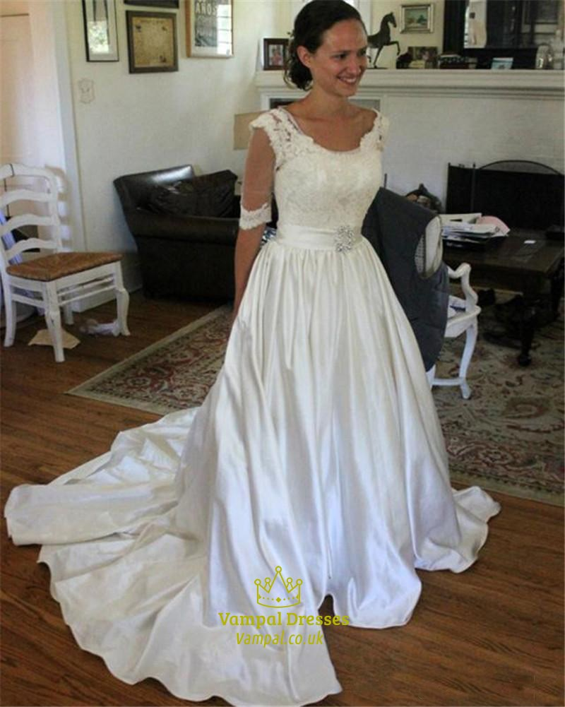 Illusion half sleeve lace top a line wedding dress with for Wedding dress with illusion top