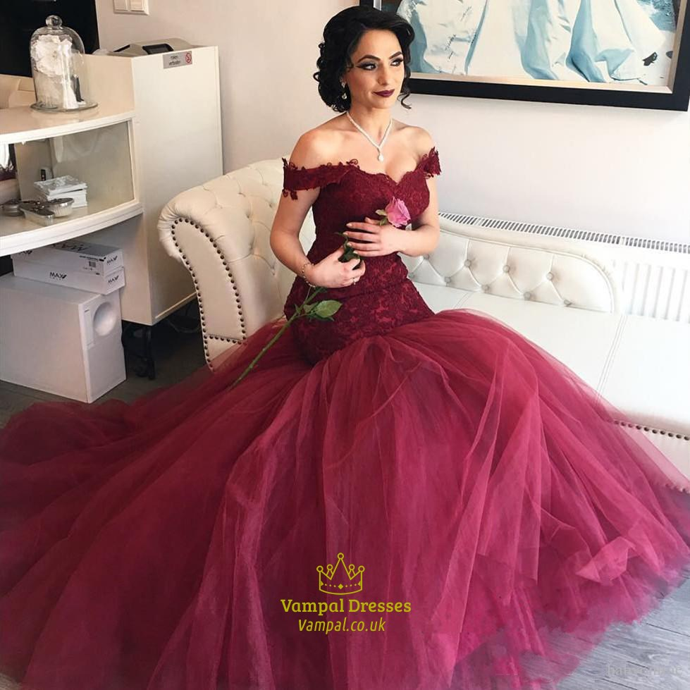 Burgundy Off Shoulder Drop Waist Lace Bodice Tulle Mermaid Ball Gown ...