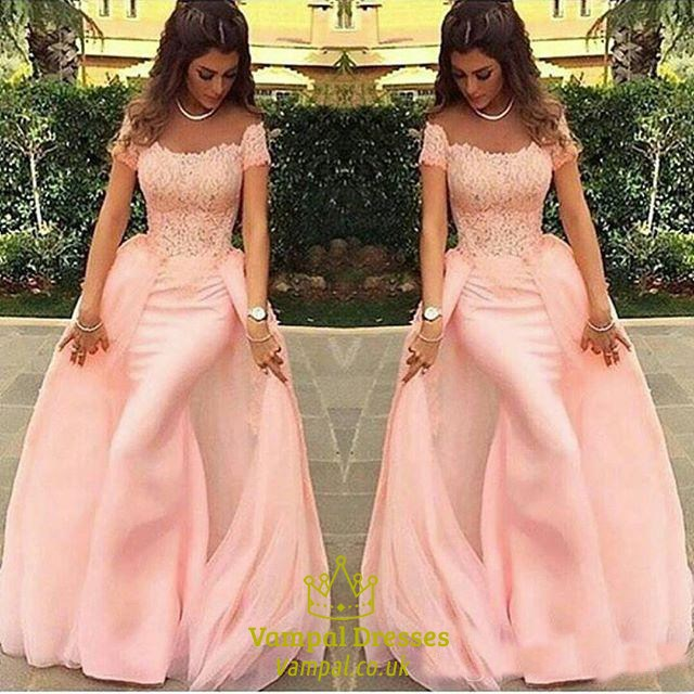 Blush Pink Off The Shoulder Mermaid Prom Dress With Detachable Skirt ...
