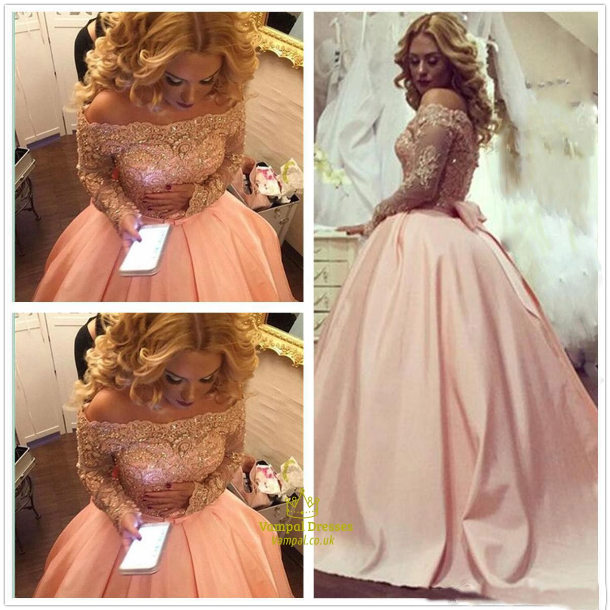 8472abae0a Off The Shoulder Satin A-Line Ball Gown Prom Dress With Long Sleeves SKU  -FS3069