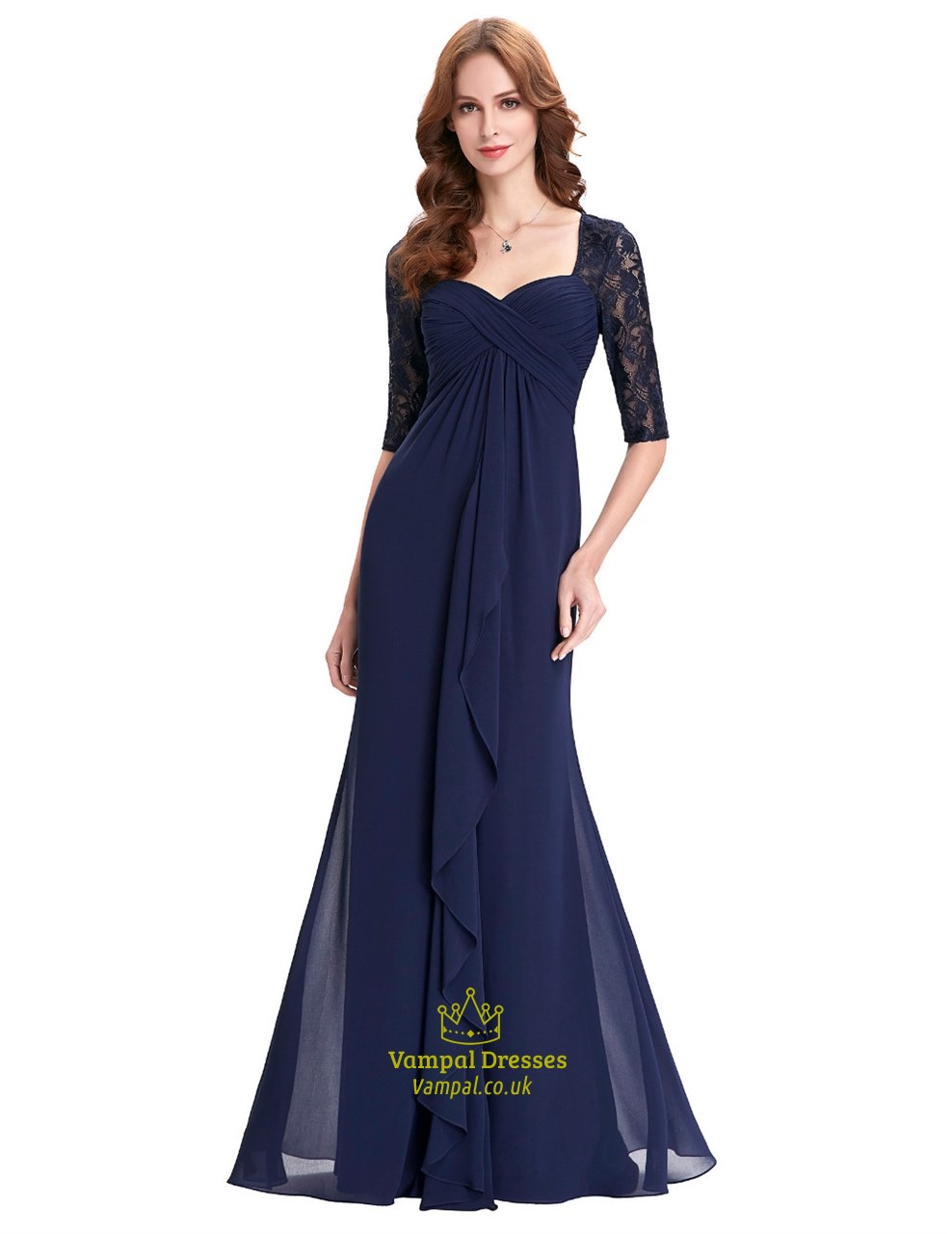 Navy Blue Half Sleeve Sweetheart Lace Chiffon A Line Long