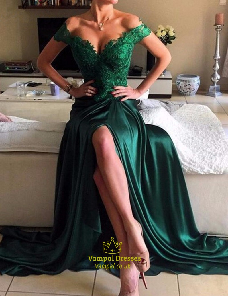Emerald Green Off The Shoulder V Neck Lace Top Side Slit