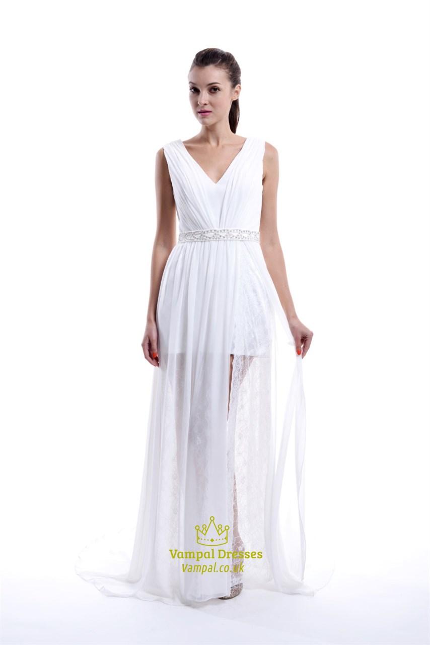Elegant White Sleeveless V-Neck Floor Length Lace Chiffon Evening ...