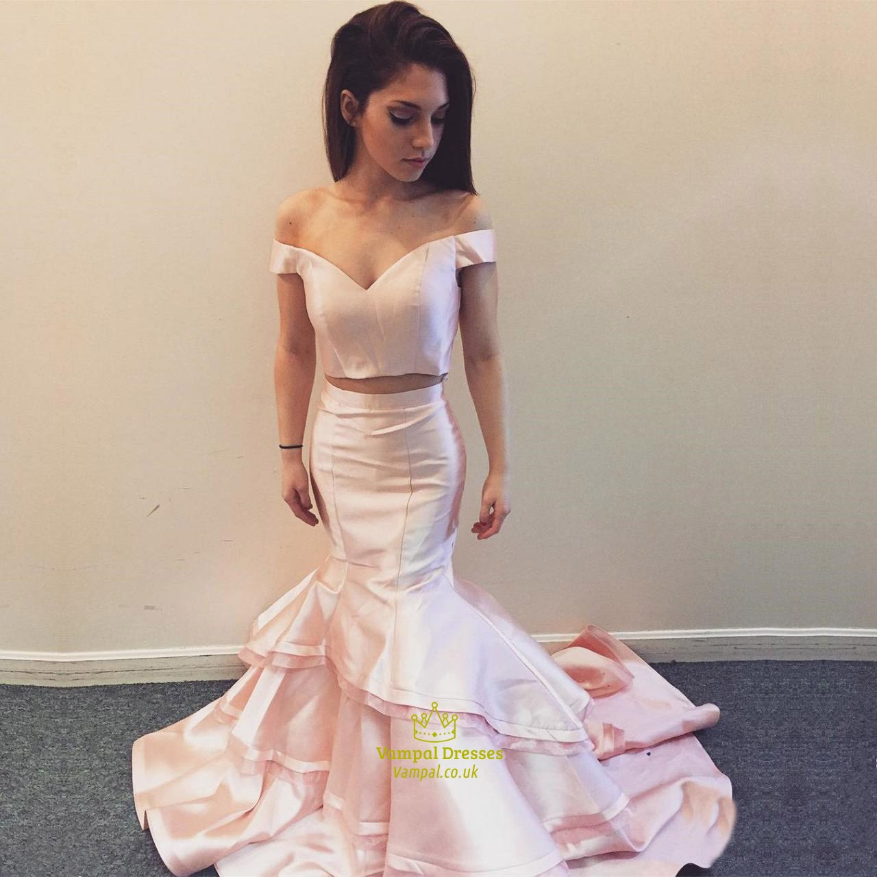 0ae37dfe40a Trumpet Mermaid Off The Shoulder V-Neck Two Piece Prom Gown With Train