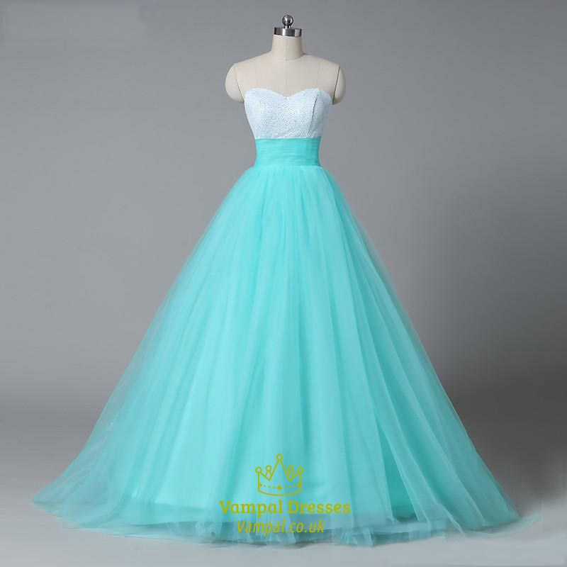 Aqua Blue Strapless Sweetheart Empire Waist A-Line Tulle Ball Gown ...