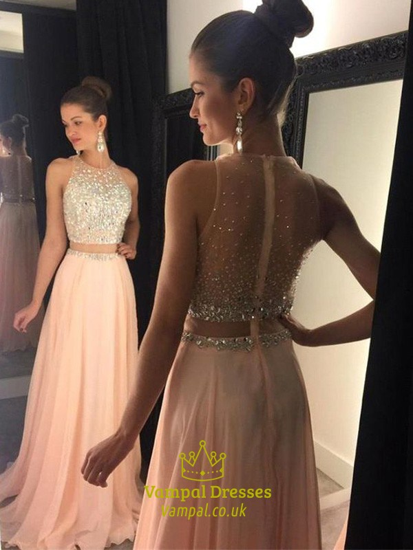 6e68ad0d8a0 Sleeveless Two-Piece A-Line Chiffon Long Prom Dress With Illusion Back SKU  -FS3078