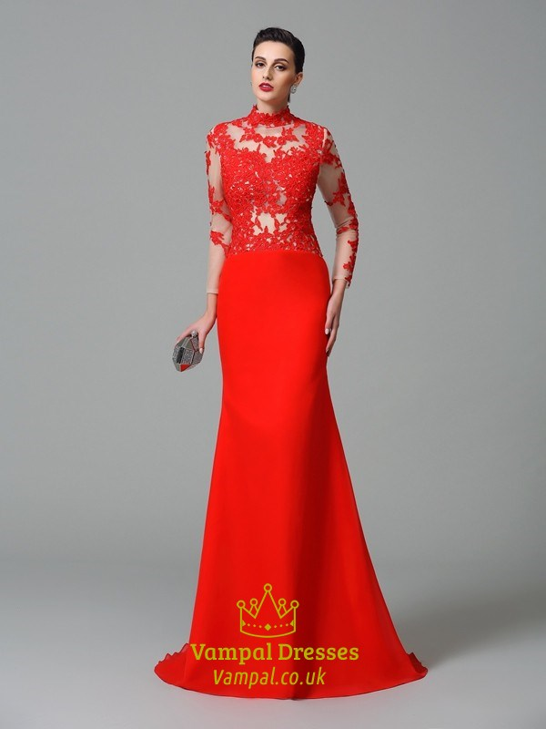 Red Mermaid Illusion Lace Bodice Floor Length Long Sleeve Prom Dress ...