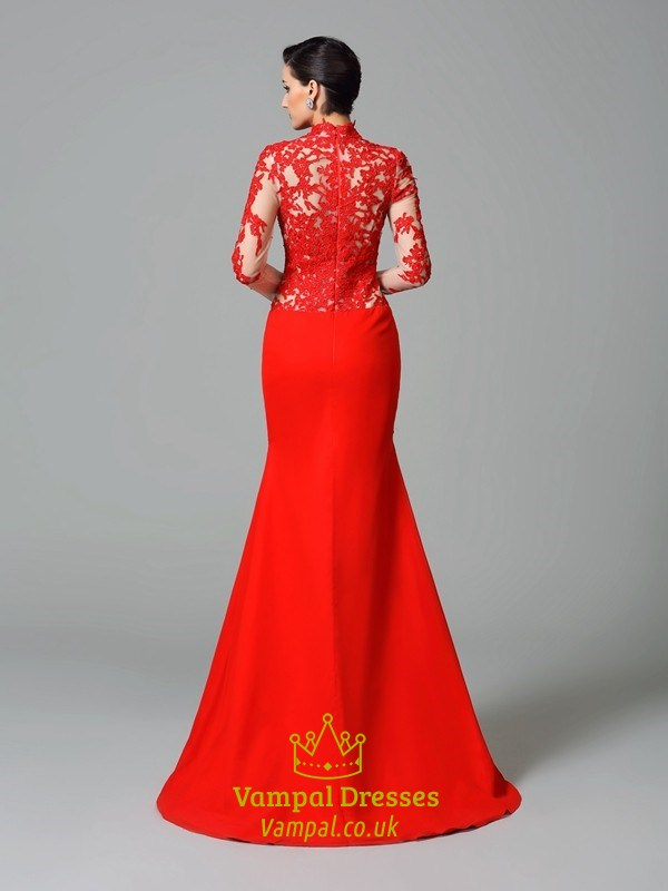 Red Mermaid Illusion Lace Bodice Floor Length Long Sleeve