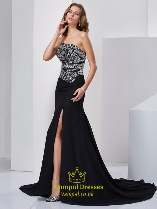 Black Strapless Sleeveless Jeweled-Bodice Mermaid Prom Dress With ...