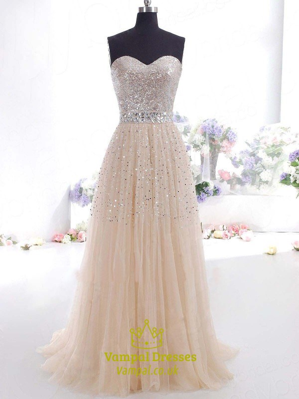 17b4da5d83c2 Strapless Sequin Bodice Tulle Skirt A-Line Floor Length Prom Dress SKU  -FS3091
