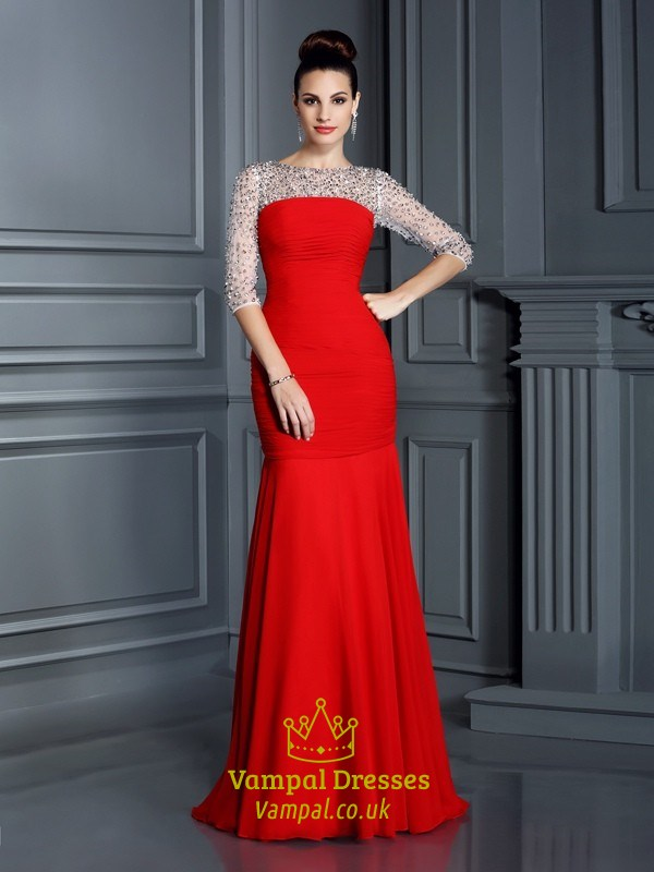 Red Half Sleeve Beaded Top Drop Waist Prom Dress With Ruched Bodice ...