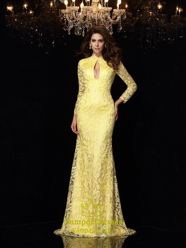 Yellow Lace Long Sleeve Open Back Mermaid Prom Gown With Keyhole ...