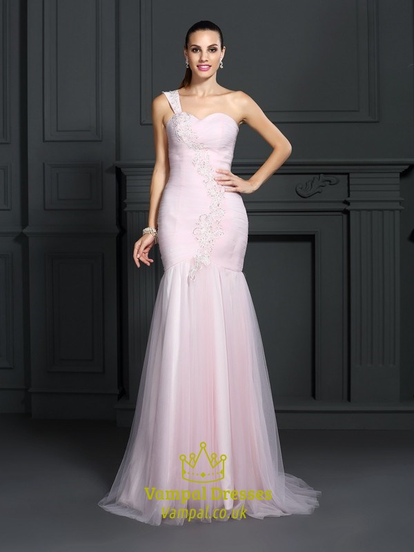 Blush Pink One Shoulder Sweetheart Dropped Waist Long Formal Dress