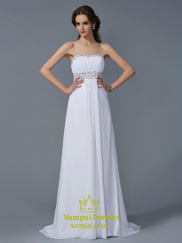 White Strapless Empire Waist Beaded Chiffon Prom Dress