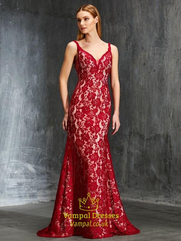 Burgundy Lace Sleeveless V-Neck Floor-Length Open Back Formal Dress ...