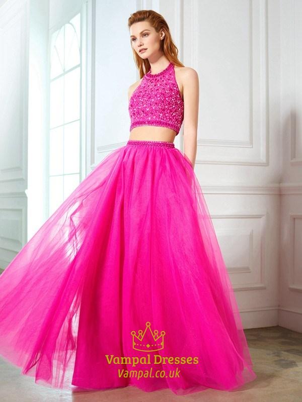 10483430ac5 Two-Piece Halter Floor Length Beaded Top Tulle Skirt A-Line Prom Dress SKU  -FS3116