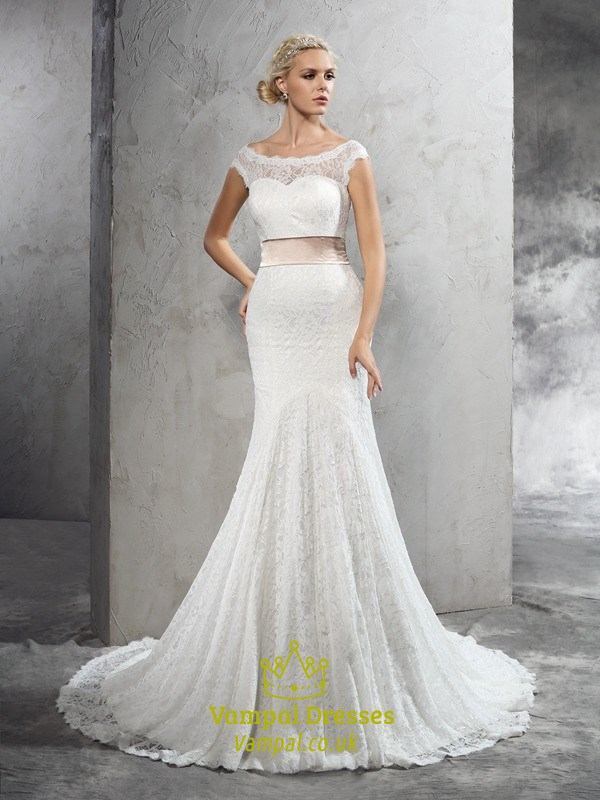 Trumpetmermaid Illusion White Lace Cap Sleeve Wedding Dress With