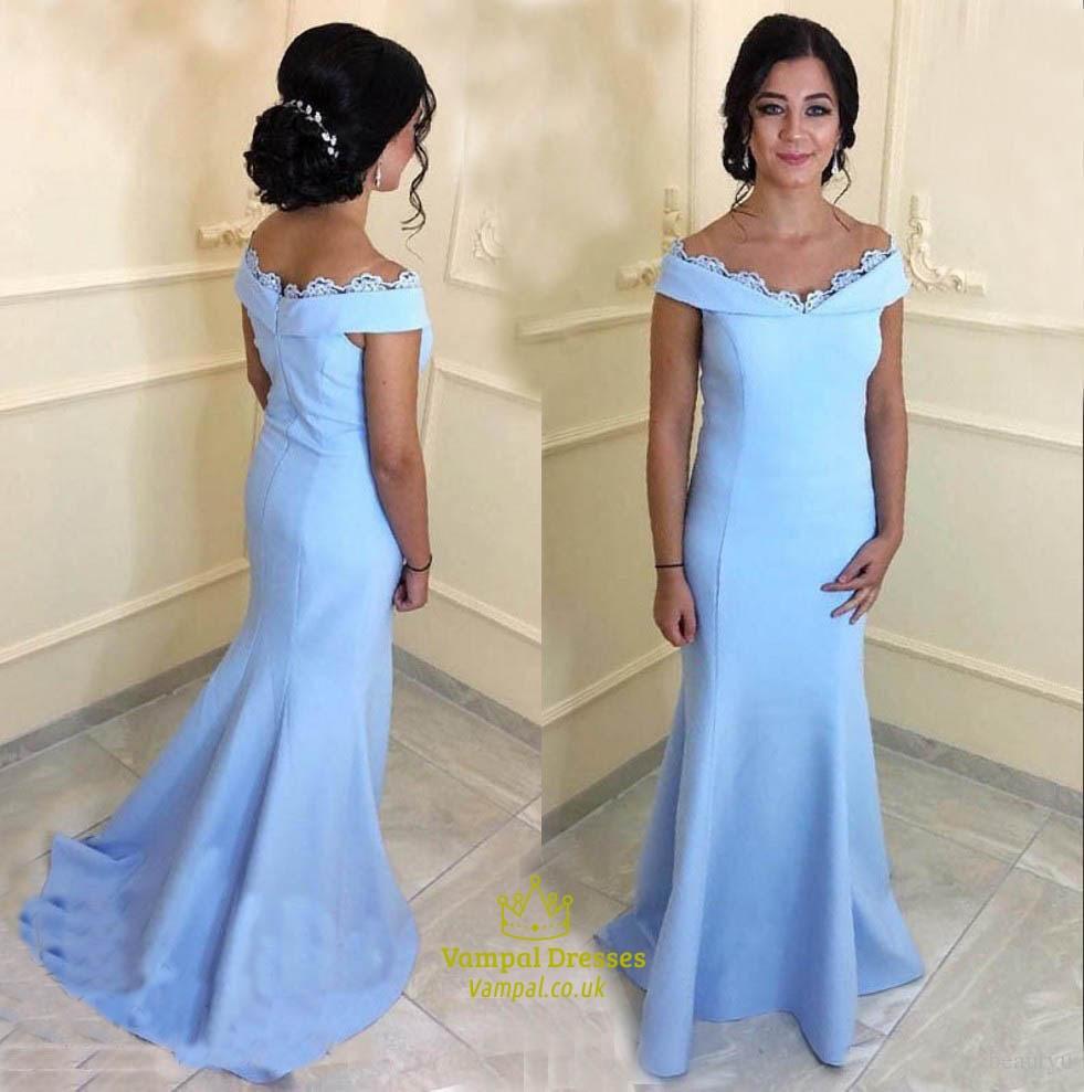 Trumpet/Mermaid Sky Blue Off The Shoulder Floor Length Evening Dress ...