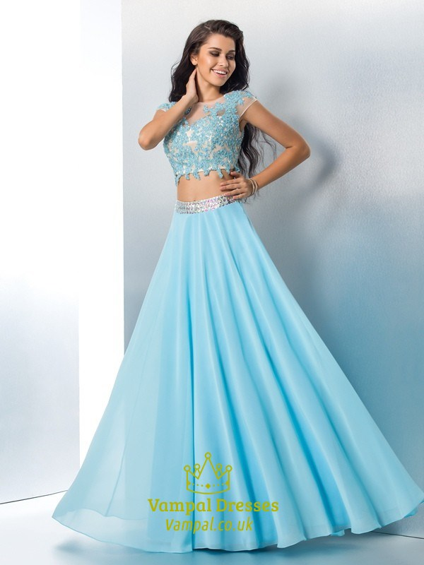 Two Piece Cap Sleeve A Line Long Prom Dress With Illusion