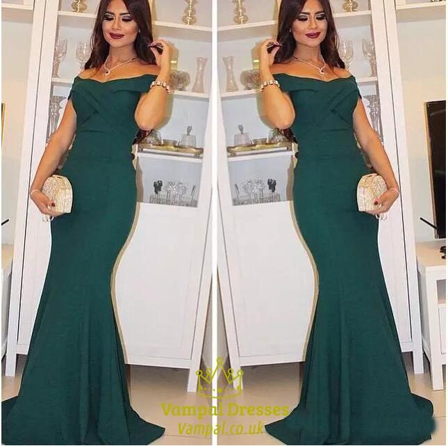 Elegant Hunter Green Off The Shoulder Mermaid Floor-Length Prom ...