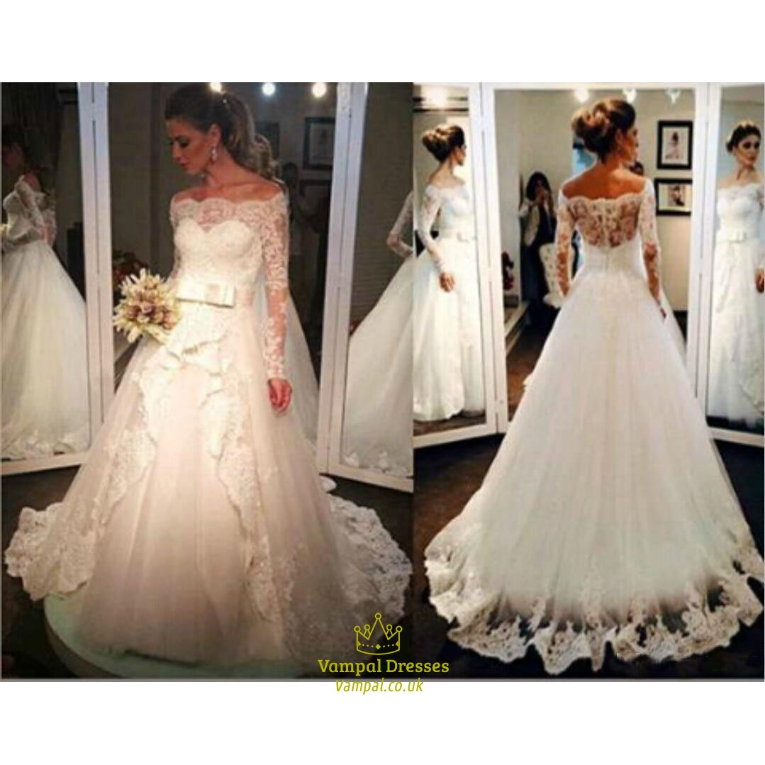 fe3301c6936e Elegant Long Sleeve Off The Shoulder A-Line Wedding Dress With Lace ...