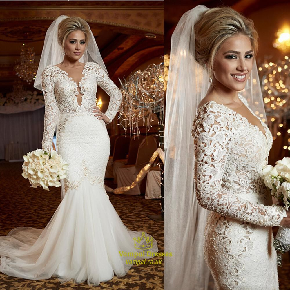 Long Sleeve Deep V-Neck Mermaid Lace Bodice Open Back Wedding Dress ...