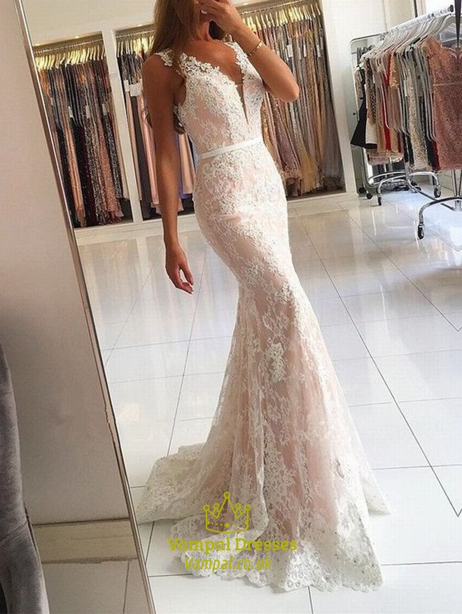 Floor-Length Sleeveless V Neck White Lace Overlay Mermaid Evening ...