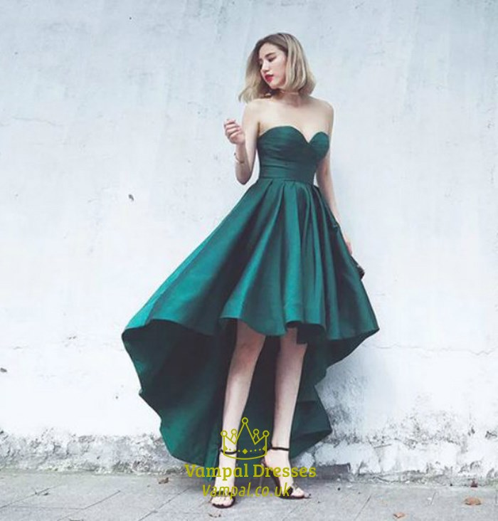 Emerald Green Strapless Sweetheart High Low A Line Long