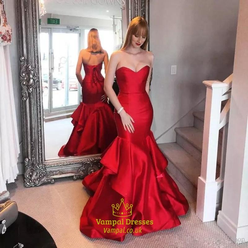 ab25edbf086f Trumpet/Mermaid Burgundy Strapless Floor-Length Ruffled Evening Dress SKU  -FS3156
