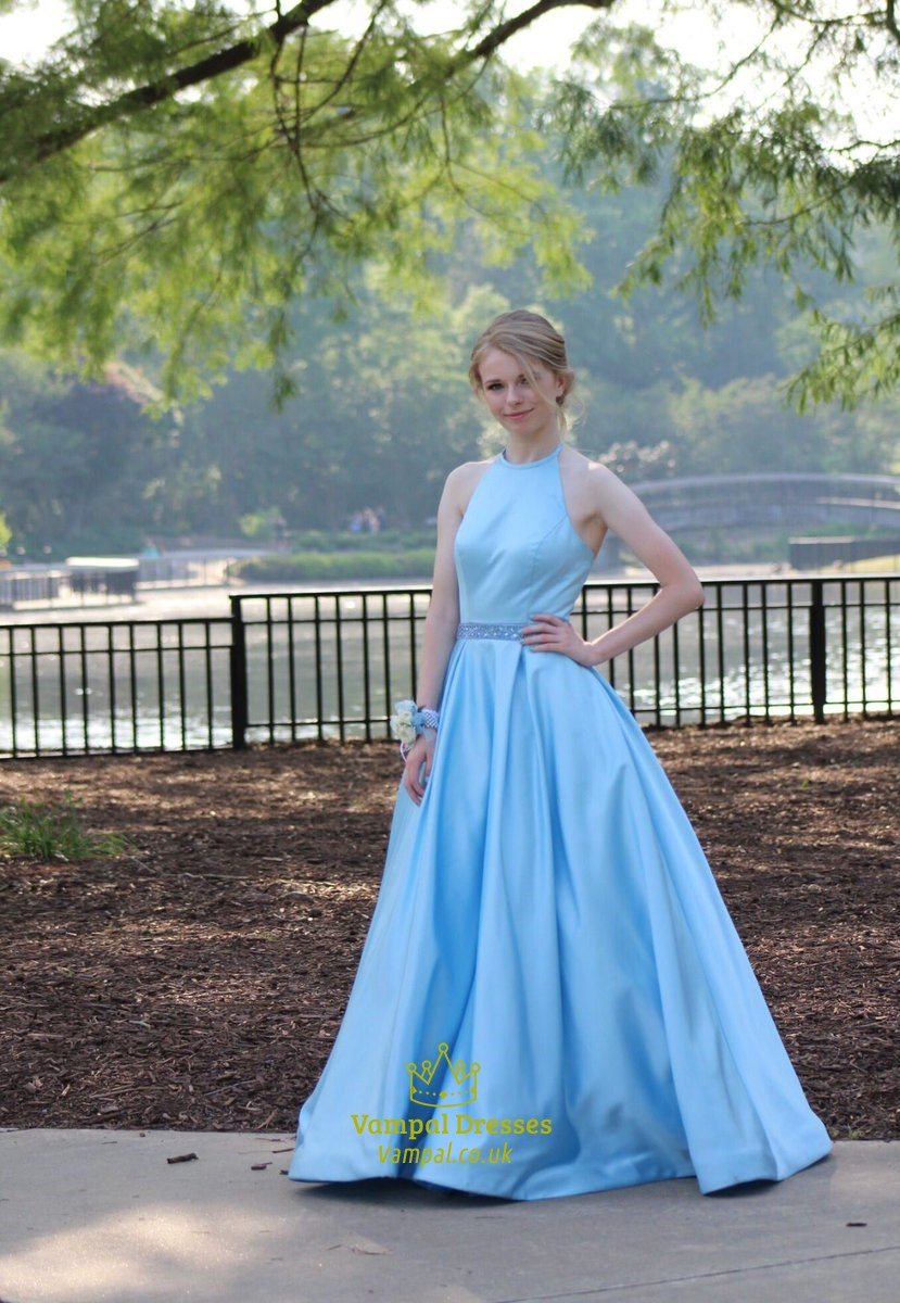 Sky Blue Elegant A-Line Halter Sleeveless Satin Ball Gown Prom Dress ...
