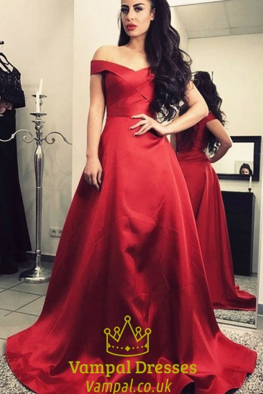 A-Line Burgundy Off-The-Shoulder V-Neck Satin Ball Gown Prom Dress ...
