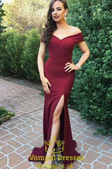 Off The Shoulder V Neck Burgundy Long Evening Dress With