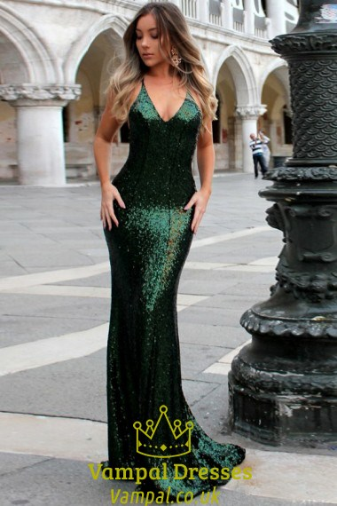 Emerald Green Sequin Spaghetti Strap Mermaid Prom Dress