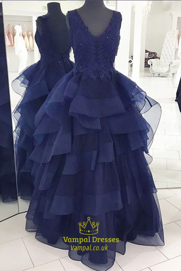 Royal Blue Sleeveless V Neck Ruffled Bottom Backless A Line Prom