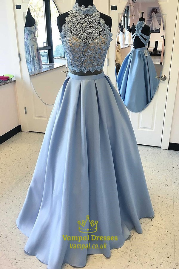 Two-Piece Sky Blue Lace Bodice A-Line Floor-Length Satin Prom Dress SKU  -FS3214 712d763c6
