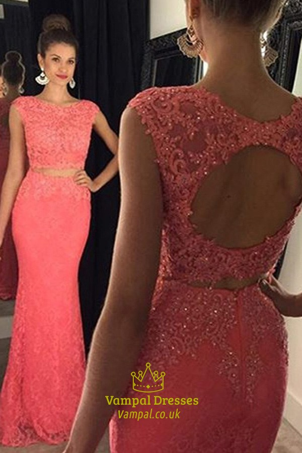 Coral Two Piece Cap Sleeve Mermaid Lace Prom Dress With Keyhole Back