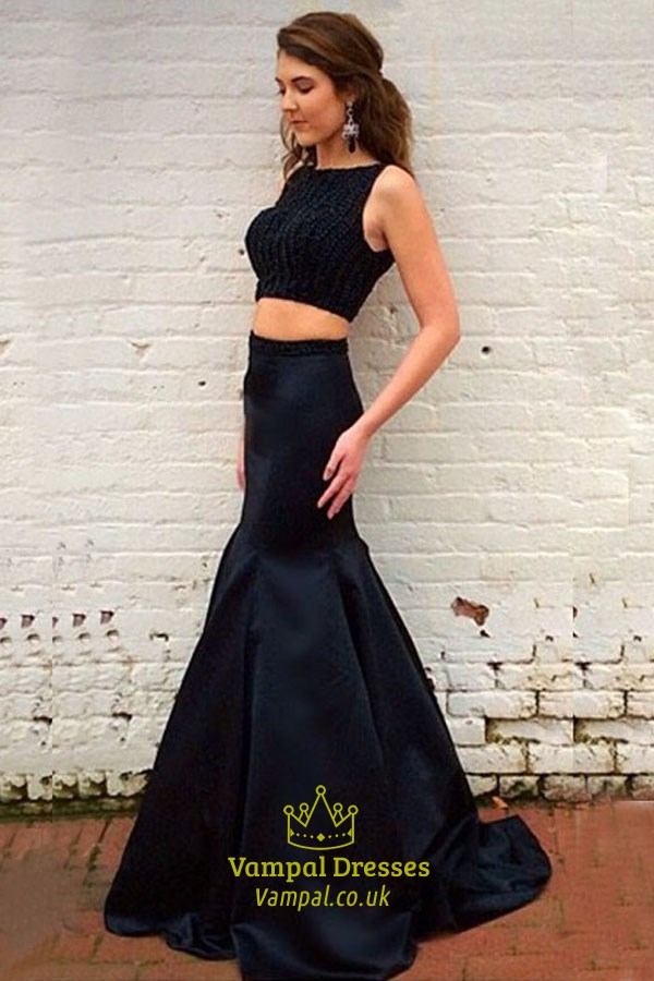 Black Elegant Sleeveless Two Piece Mermaid Prom Dress With