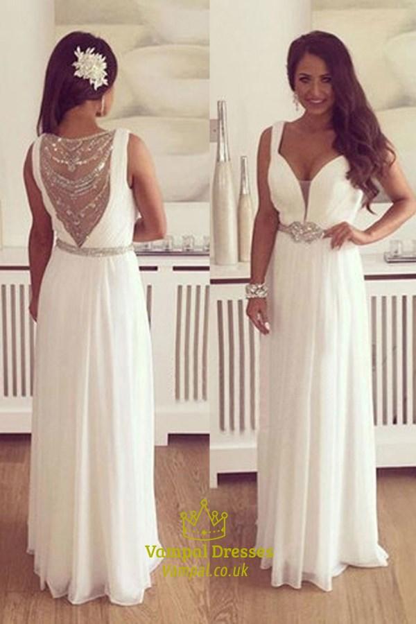 c98d74bca8e White Plunge V Neck Sleeveless Chiffon Prom Dress With Illusion Back SKU  -FS3229