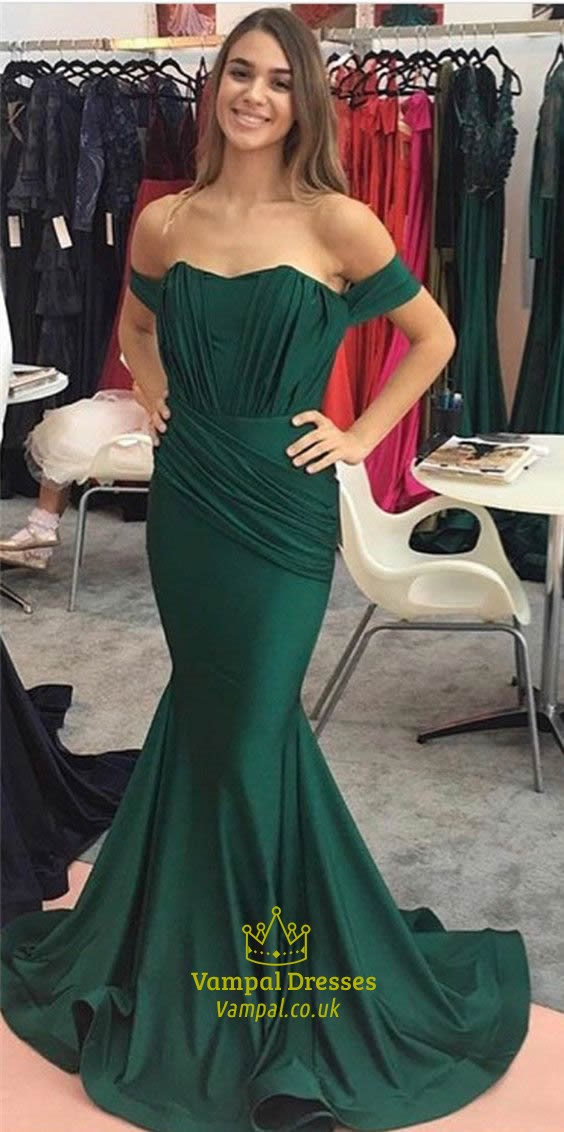 999b91764e5b Emerald Green Off The Shoulder Ruched Embellished Mermaid Prom Dress ...