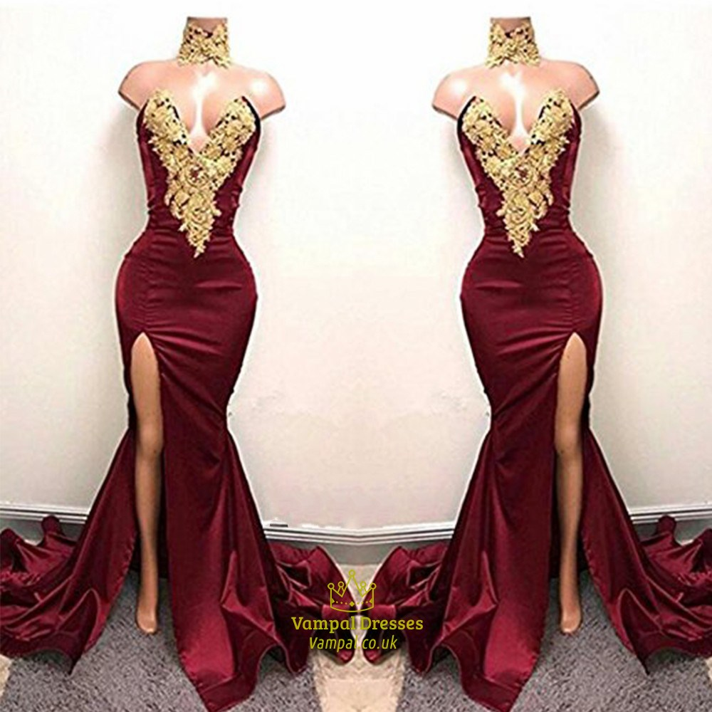 ebd0d0b5556 Sexy Burgundy Mermaid High Neck High Split Gold Lace Appliques African Prom  Dresses 2019