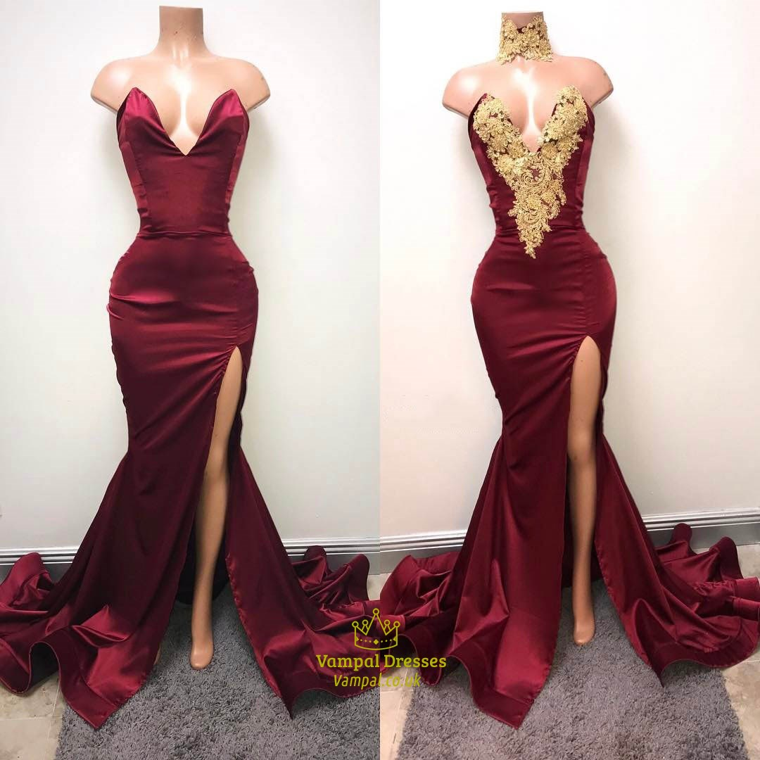 26ea4e660e4d Sexy Burgundy Mermaid High Neck High Split Gold Lace Appliques African Prom  Dresses 2019