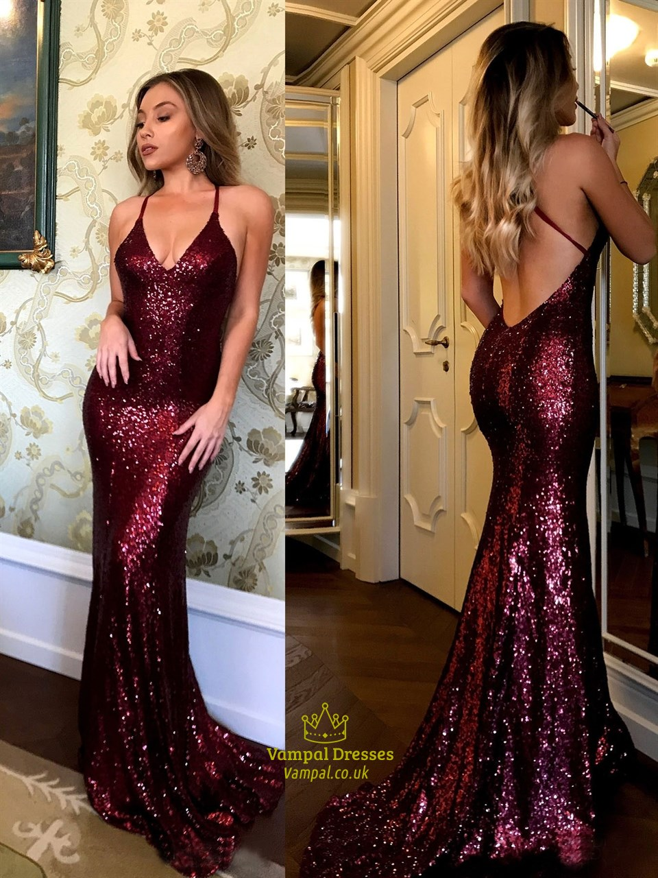 Burgundy Spaghetti Strap Sequin Mermaid Open Back Long