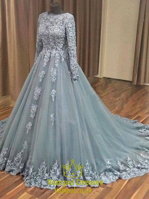 Grey Long Sleeve Lace Applique Tulle Prom Dress With Cathedral Train ...
