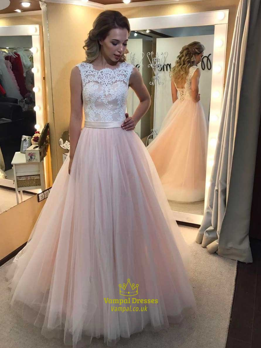 Light Pink Sleeveless Illusion Neckline Prom Dress With Lace Bodice ...