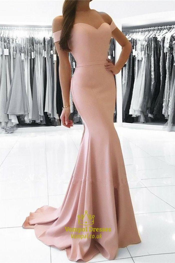 Blush Pink Pink Off The Shoulder Sweetheart Floor Length
