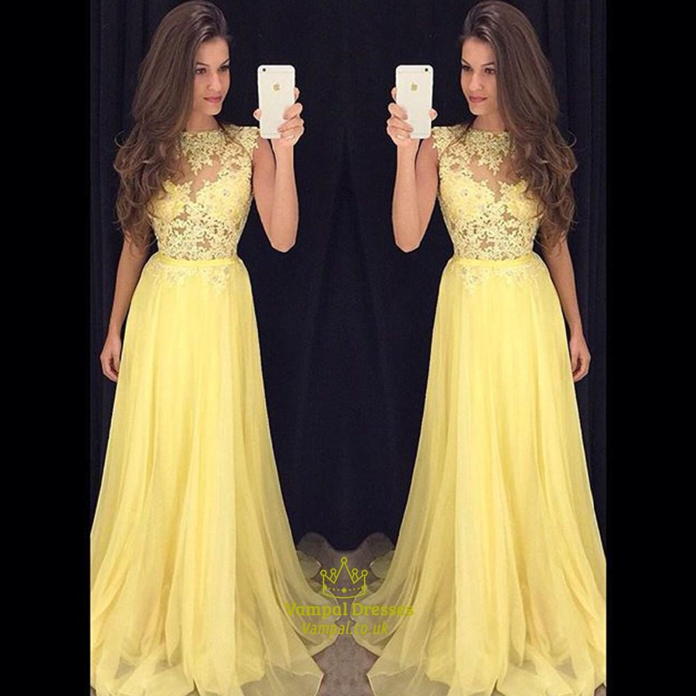 6765d9805c Yellow Lace Bodice Chiffon Skirt Floor Length Bridesmaid Dress