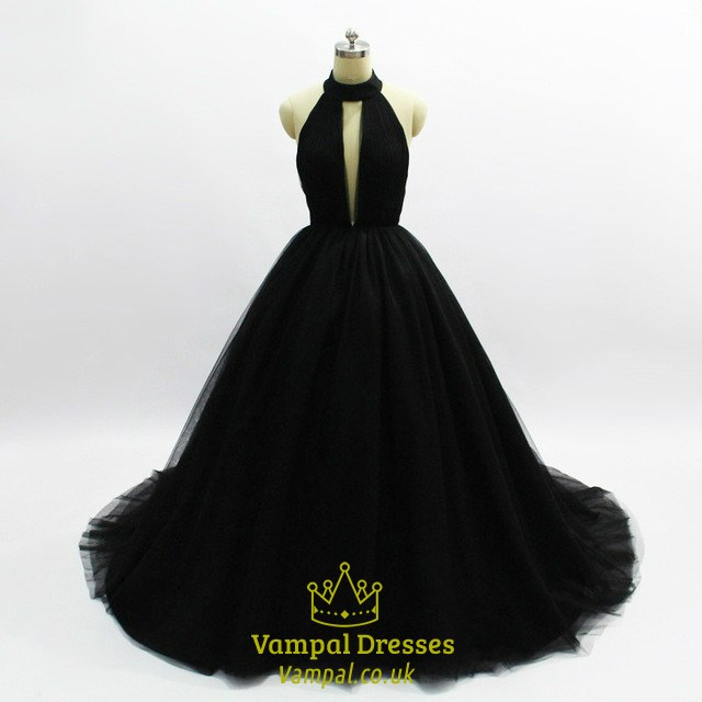 17d3020efa4 Black Halter Sleeveless Keyhole A Line Tulle Prom Dress With Train SKU -C064