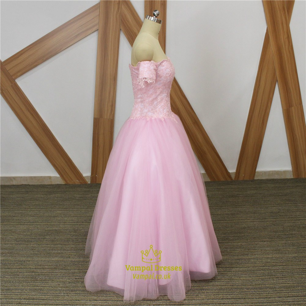 Pink Sweetheart Short Sleeve A Line Long Tulle Prom Dress