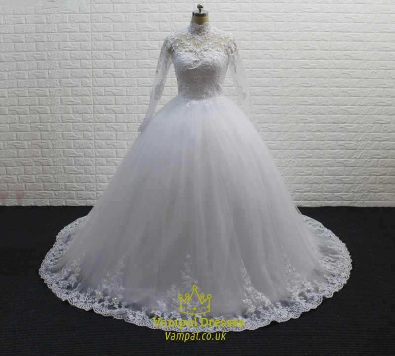 White High Neck Long Sleeve Tulle Ball Gown Wedding Dress With Train ...